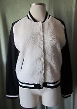 Junior's Bongo Black White Baseball Jacket NWT $50 XL Faux Lambswool ~Snap Front