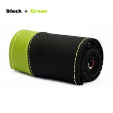 DIY 38cm Green Genuine Leather Car Steering Wheel Cover With Needles and Thread