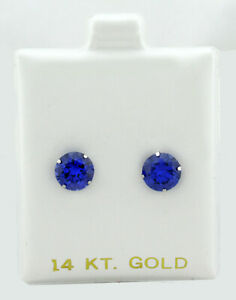 TANZANITE 2.26 Cts STUD EARRINGS 14K WHITE GOLD ** New With Tag **