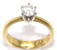 Womens Ladies 14carat 14ct Yellow Gold .56ct Diamond Solitaire Ring UK Size K