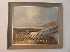 SIGNED ENGEL OIL ON CANVAS WOOD FRAMED BEACH SCENE PAINTING NICE USA SALE ONLY