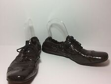 Miu Miu Ladies Brown Perforated Patent  Leather Oxford Sz 38-1/2 Fits 8-1/2 N