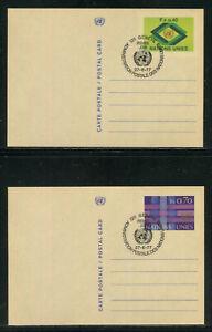 UN-Geneva #UX3-UX4, 1977 Pre-Stamped Postal Cards, No Cachet FDC No Address