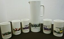 Thomas Germany Pitcher 5 Tumblers Cars Renault Mercedes Ford Fiat Benz Buick Vtg