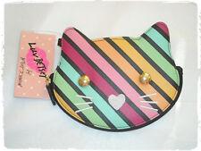 Luv Betsey Johnson Rainbow Diagonal Striped Kitty Cat Wristlet Coin Purse