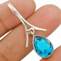 6CT Flawless Blue Topaz 925 Solid Sterling Silver Pendant Jewelry, ED29-4