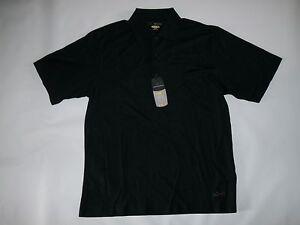 GREG NORMAN Play Dry UPF Cotton PIMA-TECH Black GOLF Polo Shirt Mens MEDIUM NEW