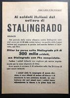 Original USSR WW 2 Surrender Leaflet Dropped on Italian Troops Stalingrad
