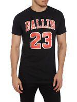 RRP £30 New Mens Reason Ballin 23 Basketball Crew Neck Black T-Shirt Top Sz S-XL