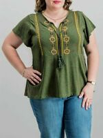 Style & Co Women's Embroidered Peasant Top Tunic