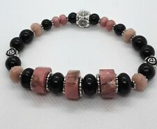 Bohemian Stack Bracelet sale Rhodonite Black Onyx Flexible