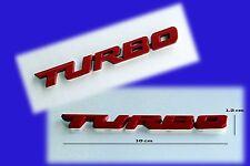 "3D Metal RED ""Turbo"" Badge Emblem, New 10 x 1.2cm Ford Toyota BMW Nissan Madza"