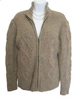 SKYR  Zip Front Cardigan Size M Medium Wool Sweater Brown Chunky Novelty Knit