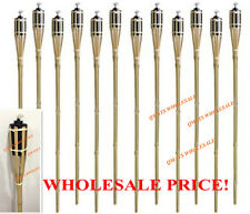 "6 Pcs 48""  NEW BAMBOO TIKI TORCHES Yard Party Garden Lamp Mosquito Metal"