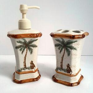 Spring Maid Palm Breeze Tree Bamboo Ceramic Soap Dispenser Toothbrush Holder