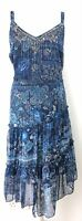 Per Una M&S Blue Floral Paisley Boho Embellished Tiered Floaty Midi Dress 18 UK