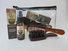 Beard Hair Oil Grooming Kit - Mini Club Brush, Moustache Comb & Travel Case
