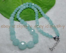 "Faceted 6-14mm Light Blue Brazilian Aquamarine Gems Round Beads Necklaces 18"""
