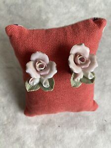 Vintage Porcelain Hand Painted Clip On Mid Century Roses Pink Rhinestone Gold