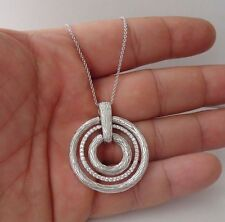 TRIPLE CIRCLE PENDANT NECKLACE W/ 1.50 CT LAB DIAMONDS / 925 STERLING SILVER