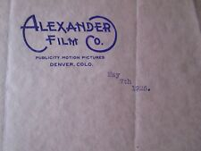 Movie letterhead Alexander Film Co letter of appreciation 5/7/1925