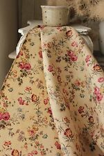 Floral printed fabric cotton French c 1900 botanical rose carnation old material