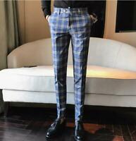 Mens Casual Plaid Blue Slim Fit Trousers Formal British Pants Mix Color Cropped