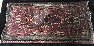 "Lovely American Sarouk Carpet - 154 min. kpsi - 49 3/4"" by 25"""