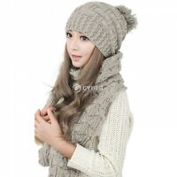 Scarf And Hat Set Womens Warm Knitted Beanie Scarves Knit Skullcaps Winter  DZ88 c4254669f368