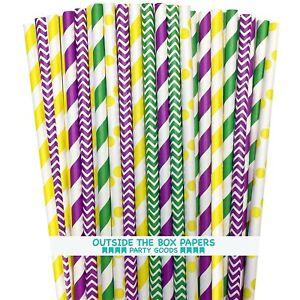 150 Mardi Gras Theme Paper Straws