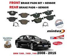 FOR BMW 730D 740D 740i 2008-2015 FRONT + REAR BRAKE DISC PADS SET + PAD SENSORS