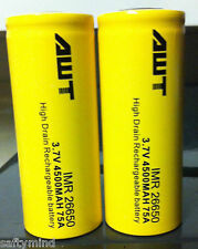 """Brand New """"2"""" Awt Imr 26650 3.7V 4500mAh Rechargeable Battery 75A High Drain"""