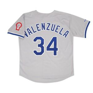 Fernando Valenzuela 1981 Los Angeles Dodgers Grey Road Jersey w/ Patch Men Large