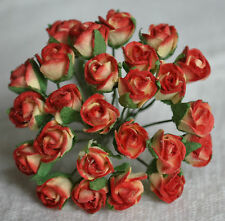 48 RED CREAM SEMI-OPEN ROSE BUDS Mulberry Paper wedding miniature cardmaking