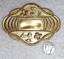 VINTAGE LARGE FLORAL ART DECO BRASS STAMPINGS JEWELRY FINDINGS 5 PIECES