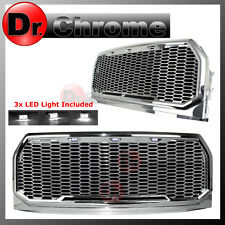 15-16 2017 Ford F150 Chrome ABS White LED Raptor Style Mesh Packaged Grille Gril