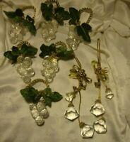 Set (6)Vtg Clear Acrylic Grape Napkin Rings Leaves Gold Holder + 2 Tassels     1