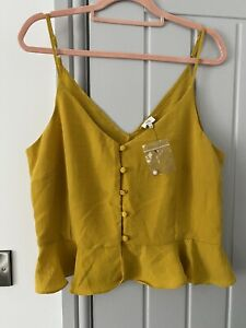 River Island Mustard Peplum Button Up Strappy Blouse Size 16 RRP £22