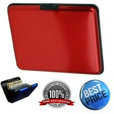 Large Aluminum Wallet RFID Multiple Credit Card Holder Red Stain Travel Case
