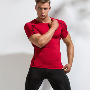 Mens Quick Drying Compression Top Tight Short Sleeve T-Shirt Breath Elasticity