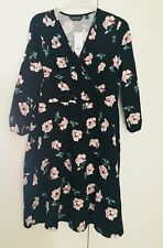 Dorothy Perkins Black Floral Dress UK 18 Eur 46 Pink Flowers Green Wraparound