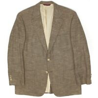 Samuelsohn Mens Sport Coat 42R Beige Beige Check Wool Cotton Patch Pocket Jacket