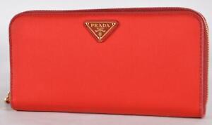 New Prada 1ML506 Rosso Red Tessuto Nylon Zip Around Wallet Clutch