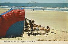 Myrtle Beach SC South Carolina Relaxing Sun Beach c1975 Vintage Postcard D24