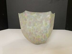 Vintage Art Deco Mottled Pink and Yellow Glass Pendant Light Lamp Shade