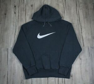 Nike Center Check Swoosh Gray Pullover Men's Hoodie Size Large