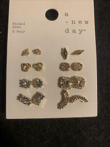 A New Day 8 Pair Multi Stud Earrings Nickel Free Cubic Zirconia