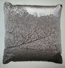 Kenneth Cole Reaction Pillow Purple Velvet Embroidered Leaf Front Reverse Solid