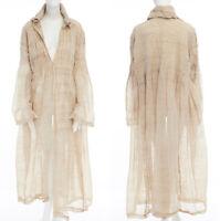 ISSEY MIYAKE beige crinkled gathered pleated linen long coat jacket S