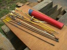 One Lot of Arrows and Bear Arrow Case Junior size Carry Case Vintage 1950s Era.